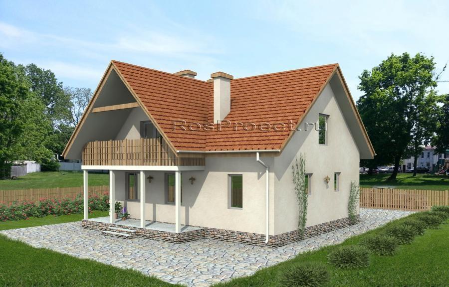 Дом с мансардой, гаражом, террасой и балконами rpg962 в магн.